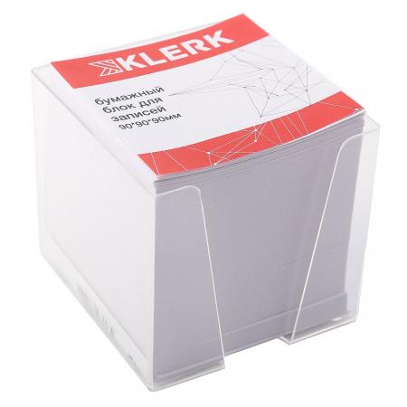 Блок для записей  9*9*9 куб офсет 60-65г/м 90% белый пластиковая подставка KLERK 205828