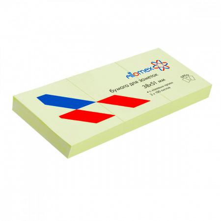 Блок самоклеящийся 38*51мм, 100л, набор 3шт, зеленый   Attomex 2010704