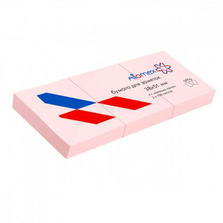 Блок самоклеящийся 38*51см, 100л, набор 3шт, розовый   Attomex 2010705