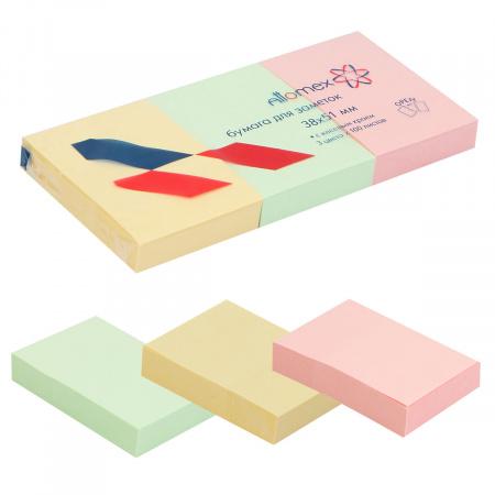 Блок самоклеящийся 38*51 100л набор 3шт 3 цвета Attomex 2010706