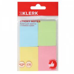 Блок самоклеящийся 40*50мм, 50л, набор 4шт, 4 цвета, пластиковый блистер   KLERK 211286