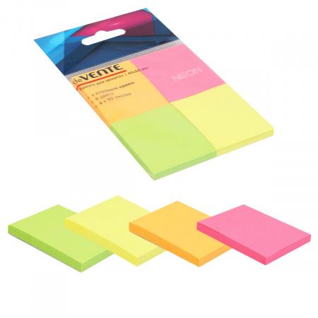 Блок самоклеящийся 40*50 200л набор 4шт 4 цвета неон в пластиковом блистере deVENTE 2010344