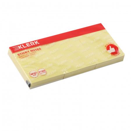 Блок самоклеящийся 38*50мм, 100л, набор 3шт, желтый   KLERK 211287