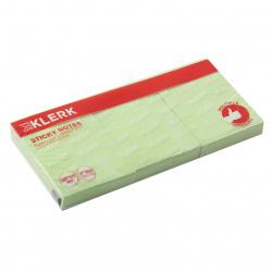 Блок самоклеящийся 38*50мм, 100л, набор 3шт, зеленый KLERK 211288