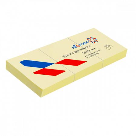 Блок самоклеящийся 38*51 100л набор 3шт желтый Attomex 2010300