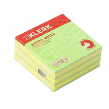 Блок самоклеящийся 50*50мм, 250л, 2 цвета, неон, пастель   KLERK 211292