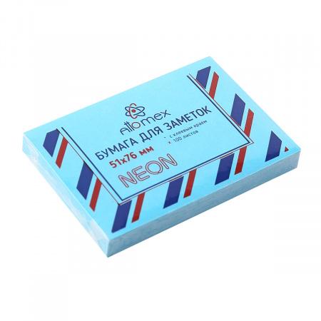 Блок самоклеящийся 51*76 100л Attomex 2010902 неон голубой