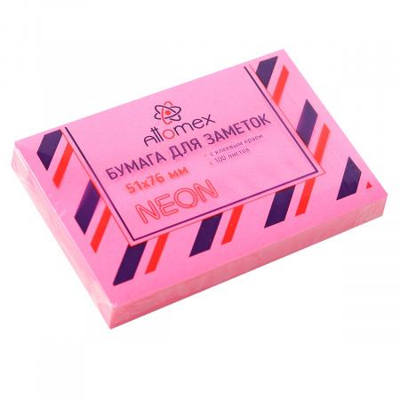Блок самоклеящийся 51*76 100л Attomex 2010905 неон малиновый
