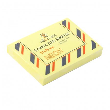 Блок самоклеящийся 51*76 100л Attomex 2010903 неон желтый