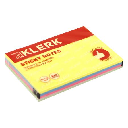 Блок самоклеящийся 51*76 100л 4цв KLERK 206902 Neon
