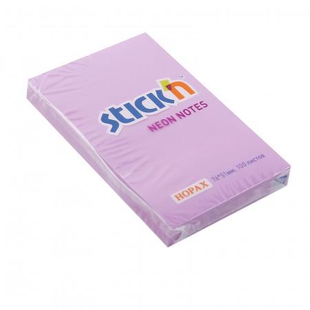 Блок самоклеящийся 51*76мм, 100л, ярко-фиолетовый, неон Hopax 822677