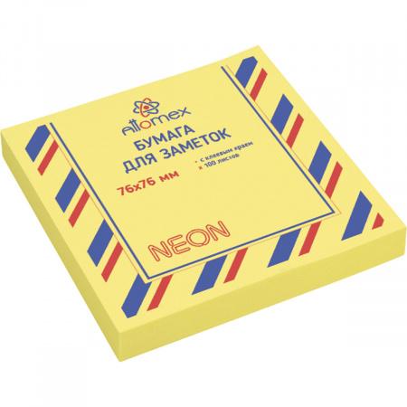 Блок самоклеящийся  76*76мм, 100л, желтый, неон  Attomex 2010913