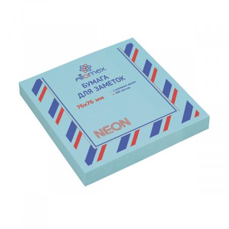 Блок самоклеящийся 76*76 100л Attomex 2010912 неон голубая