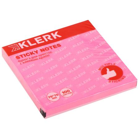 Блок самоклеящийся 76*76мм, 100л, розовый, неон   KLERK 206911