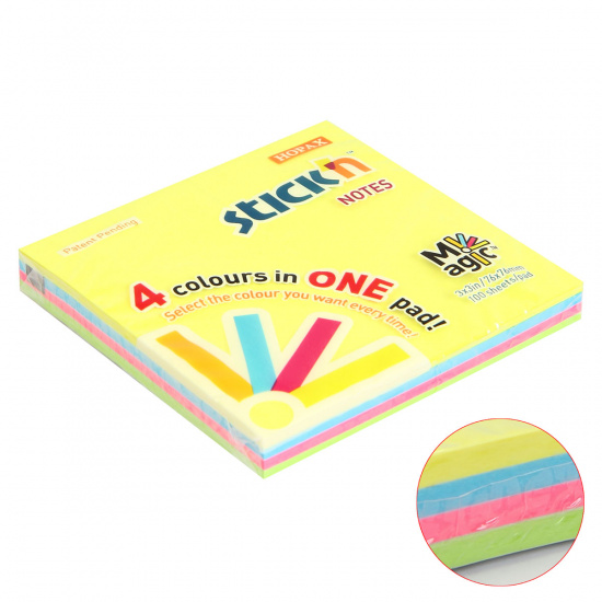 Блок самоклеящийся 76*76мм, 100л, 4 цвета, неон  Magic Pads Hopax 851066