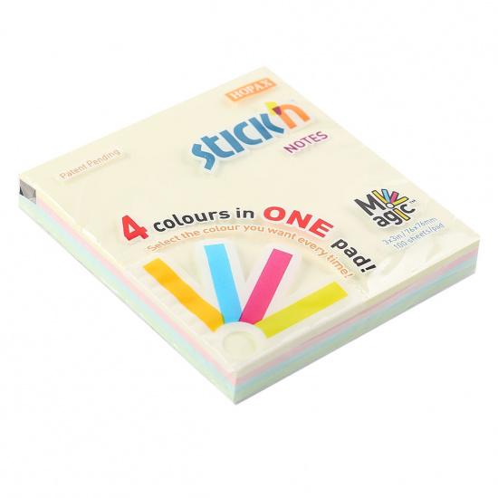 Блок самоклеящийся 76*76мм, 100л, 4 цвета  Magic Pads Hopax 897369