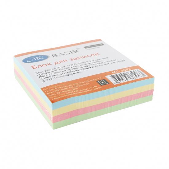 Блок самоклеящийся 76*76мм, 200л, 4 цвета, пастель Basir MC-3482