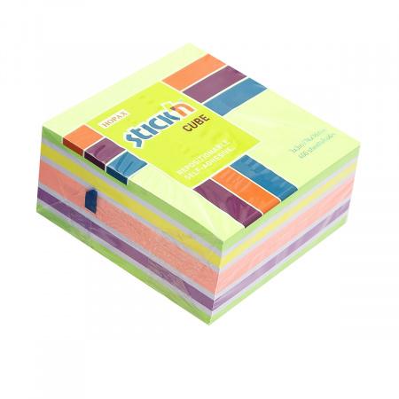 Блок самоклеящийся 76*76 400л 5цв Hopax 21537/897587 неон+пастель