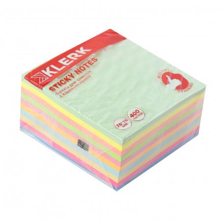 Блок самоклеящийся 76*76мм, 400л, ассорти 6 цветов, неон, пастель   KLERK 211296