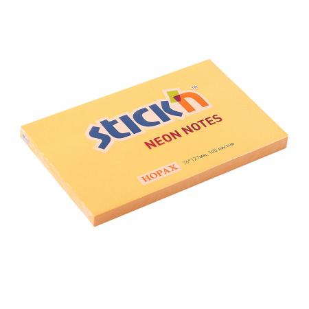 Блок самоклеящийся 76*127 100л Hopax 21168/822660 неон оранжевый
