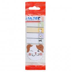 Закладки клейкие Cats бумага, 12*44мм + 45*45мм, 6 цветов, 20л, рисунок deVENTE 2011855
