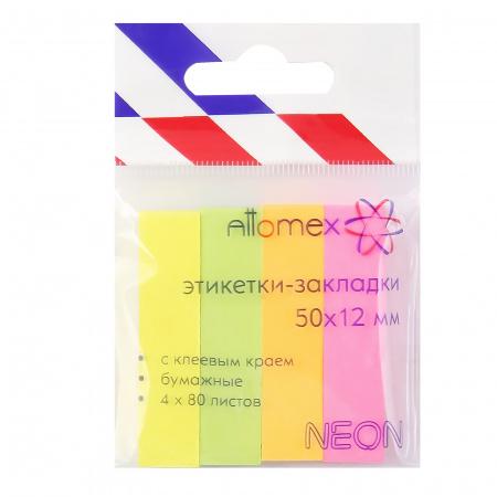Закладки клейкие бумажные 12*50 4цв*80л Attomex 2011701 неон