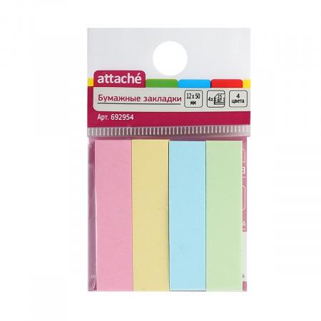 Закладки клейкие бумажные 12*50 4цв*25л Attache 692954 пастель