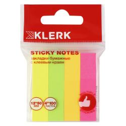 Закладки клейкие бумажные 12*50 4цв*100л KLERK 206920 Neon