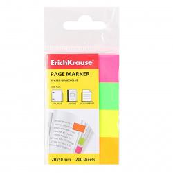 Закладки клейкие бумажные 20*50 4цв*50л Erich Krause 7324 неон