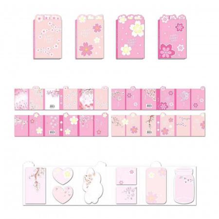 Закладки клейкие бумажные 8цв*15л КОКОС Sakura 211471 ассорти 4 вида