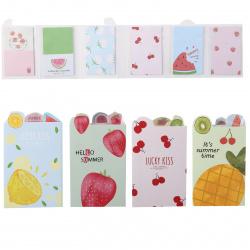 Закладки клейкие бумажные 45*75 6цв*17л КОКОС Fruit 211473 ассорти 7 видов