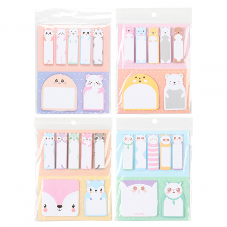 Закладки клейкие бумажные 7цв КОКОС Little Beast 211319 ассорти