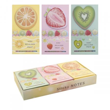 Закладки клейкие бумажные 5цв*19л КОКОС Fruit 205395 ассорти 3 вида