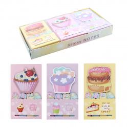 Закладки клейкие бумажные 20*73+69*72 5цв*19л КОКОС Cake 205396 ассорти 3 вида
