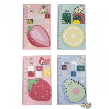 Закладки клейкие бумажные/пластиковые 3-4цв КОКОС Fruit 211467 ассорти 4 вида