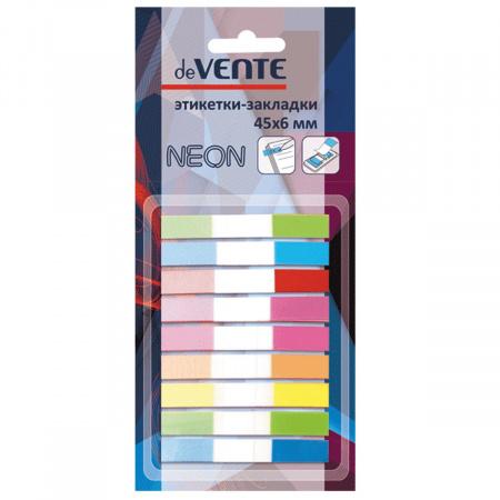 Закладки клейкие пластик, 6*45мм, 9 цветов, 10л, неон deVENTE 2011600