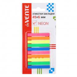Закладки клейкие пластиковые 6*45 5цв*50л deVENTE в блистере 2011601 ассорти