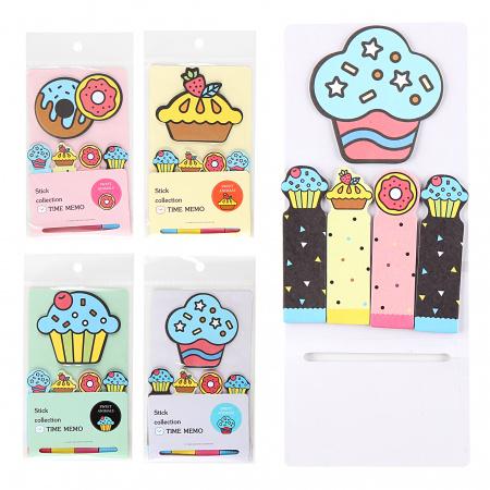 Закладки клейкие Cupcake бумага, 21*77мм+65*75мм, 5 цветов, 17л, рисунок КОКОС 211478