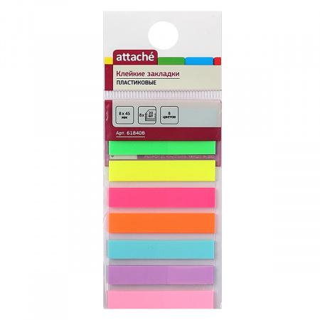 Закладки клейкие пластик, 8*45мм, 8 цветов, 20л, ассорти Attache 618408