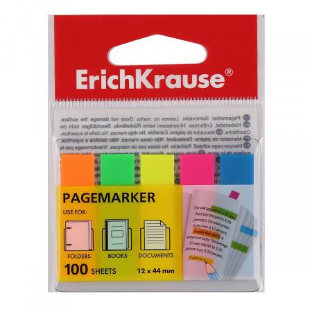 Закладки клейкие пластик, 12*44мм, 5 цветов, 20л, неон Erich Krause 31177