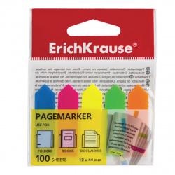 Закладки клейкие пластиковые 12*44 5цв*100л Erich Krause Neon Arrows 31178 неон ассорти