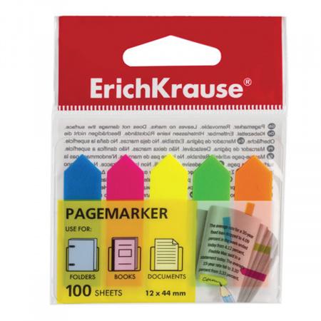 Закладки клейкие пластик, 12*44мм, 5 цветов, 100л, неон Erich Krause 31178