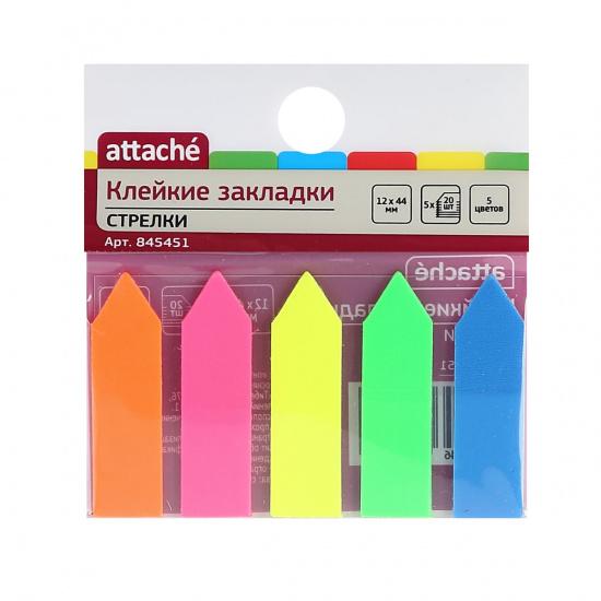 Закладки клейкие пластик, 12*44мм, 5 цветов, 20л, неон Attache 845451