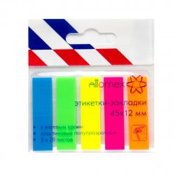Закладки клейкие пластик, 12*45мм, 5 цветов, 20л, неон Attomex 2011703