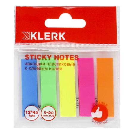 Закладки клейкие пластиковые 12*45 5цв*20л KLERK 206922 Neon