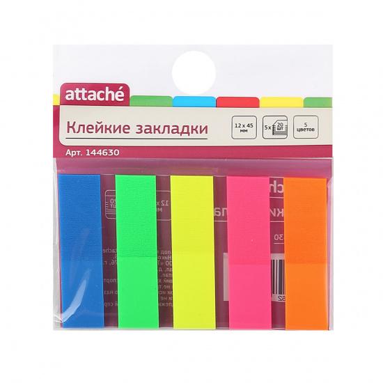 Закладки клейкие пластик, 12*45мм, 5 цветов, 20л, неон Attache 144630