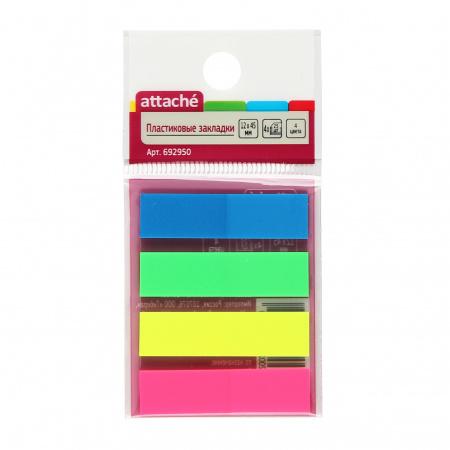 Закладки клейкие пластик, 12*45мм, 4 цвета, 25л, неон Attache