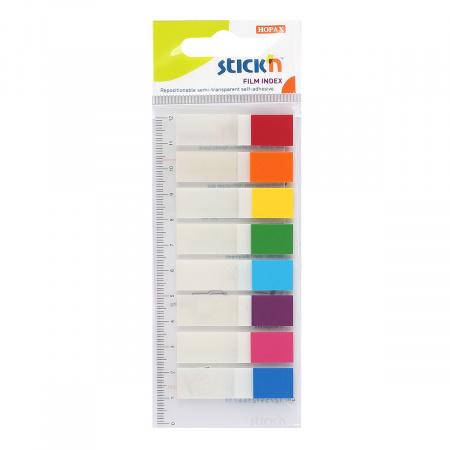 Закладки клейкие пластик, 12*45мм, 8 цветов, 15л, цвет ассорти Hopax 822751