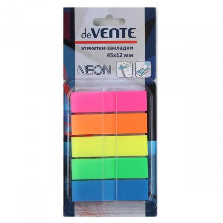 Закладки клейкие пластиковые 12*45 5цв*30л deVENTE Z-сложение 2011315 неон