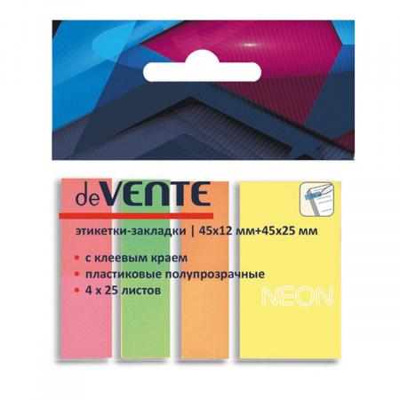 Закладки клейкие пластиковые 12*45+25*45 4цв*25л deVENTE 2011308 неон